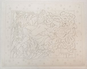 Sketch to Hurricane Sandy print by Gary Houston