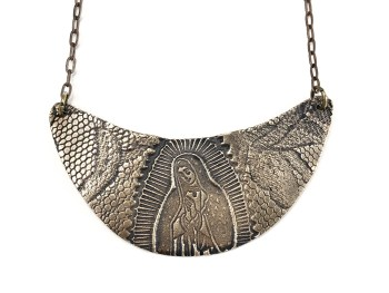 Virgin of Guadalupe Crescent Necklace