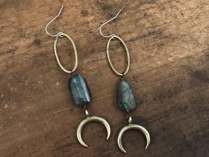 Labradorite Moon Earrings