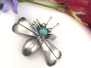 Vintage Turquoise Bee Pin