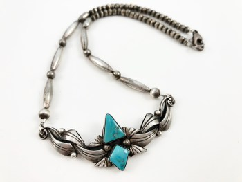 Turquoise Bench Bead Necklace