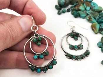 Zuni Turquoise Hoop Earrings
