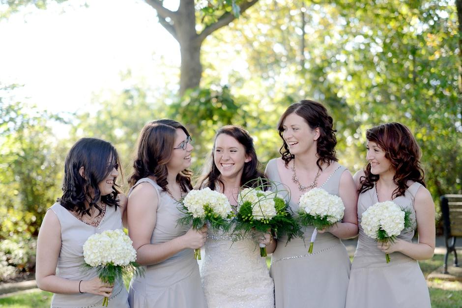 8 taupe bridesmaids white bouquet huntsville al