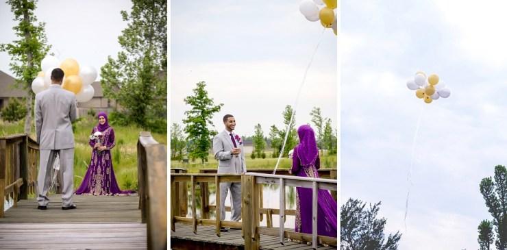 10 balloon first look wedding