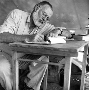 Ernest Heminngway writing in Cuba