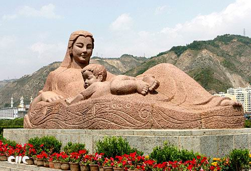 """Yellow River Mother"" sculpture, by HeE, Gansu"