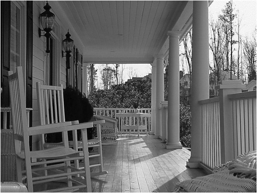 ROCKING CHAIR PORCH B&W