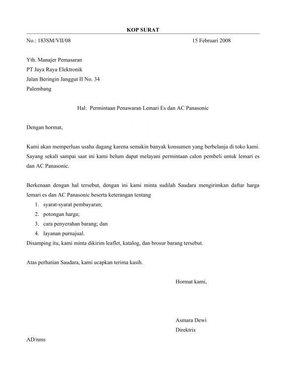 13 Contoh Surat Penawaran Lengkap Jasa Kerjasama Barang Elektronik