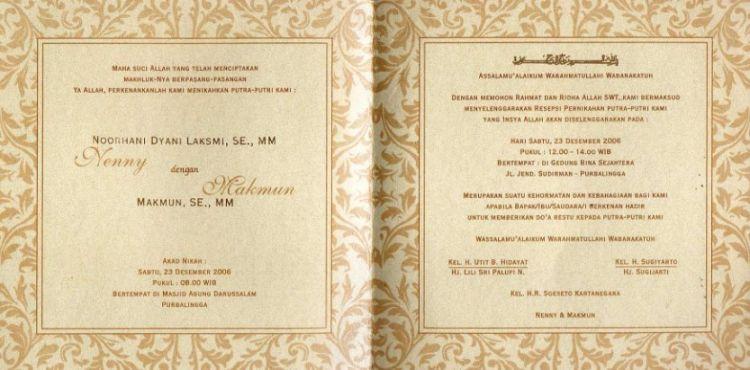 27 Contoh Undangan Pernikahan Simple Unik Islami Sederhana Lengkap