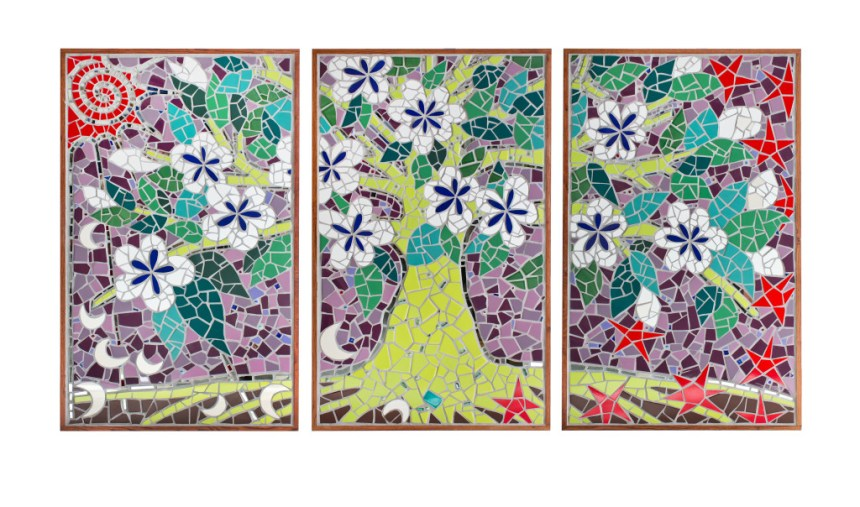 mosaic mural in three parts of tree of life, moons, stars, and sun