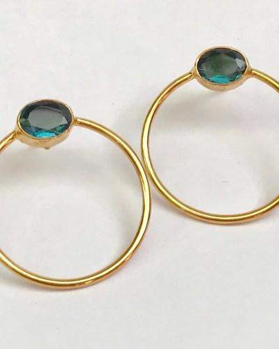 Gold Circle & Stone Earrings
