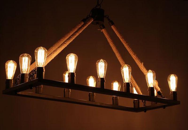 Large Industrial Farmhouse Iron Chandelier Light Edison