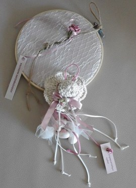 Back-side of invitation with lace and rose bud and crochet hat bomboniere