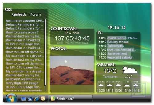 桌面行事曆中文版下載 Rainlendar Lite 2.10