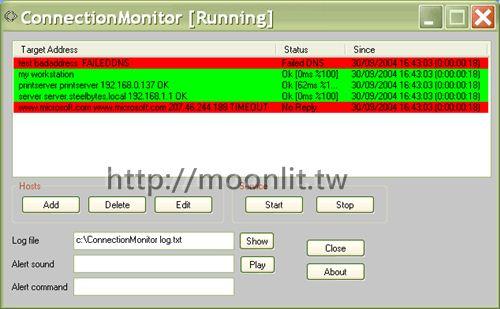 網站監控軟體 ConnectionMonitor (幫您監測網站是否斷線)