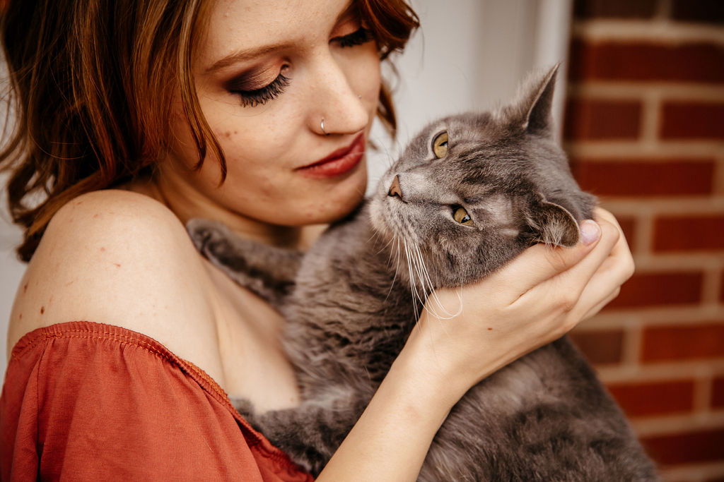Brooke and Jak the Cat have a sweet close up