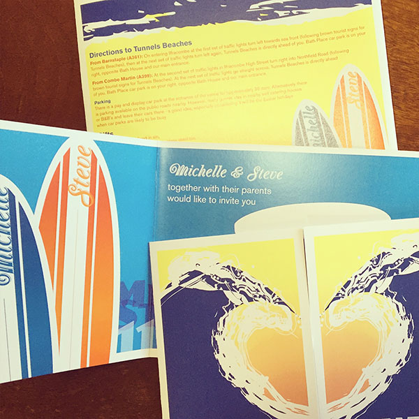 Surf wedding invitations