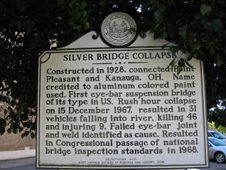 Signage of the Silver Bridge collapse in Point Pleasant. It was blamed on the myth of the Mothman.