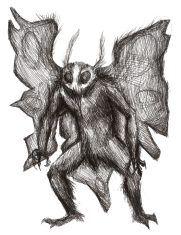 The mothman was said to be like a man with wings and glowing red eyes.