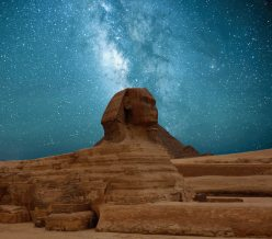 The Great sphinx of Giza under the starry night sky