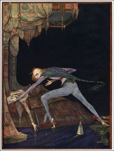 He shrieked once - once only. (Illustration by Harry Clarke for Tales of Mystery and Imagination by Edgar Allan Poe.)