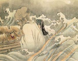 Boatman and Funayūrei by Kawanabe Kyōsai (河鍋暁斎, Japanse, *1831, †1889)