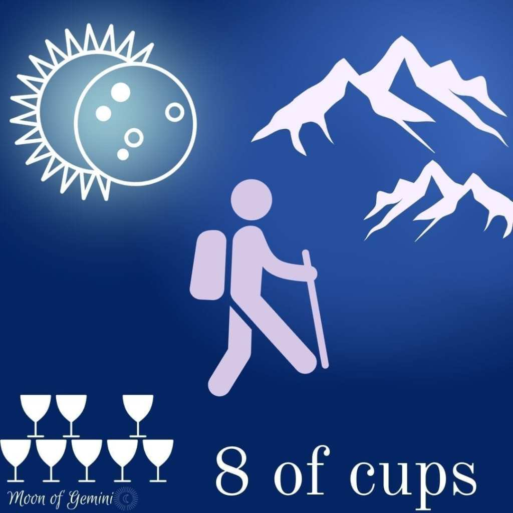 8 of cups tarot card with eclipse, hiker, mountains and 8 cups