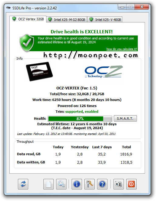 ssd固態硬碟壽命檢測軟體 SSD Life Free