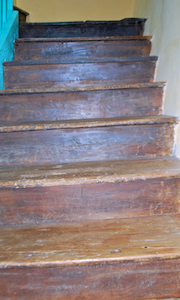 Original stairs to the third floor studio