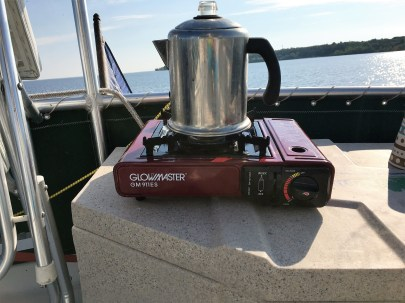 Perked coffee at anchor