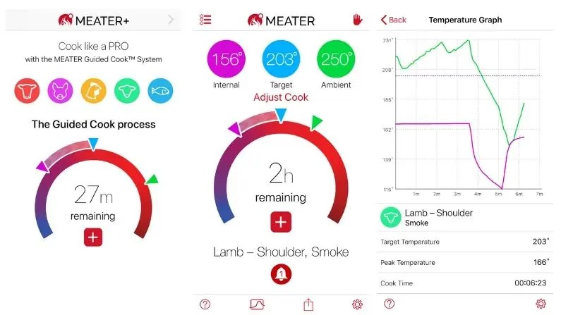 Meater app digital read outs