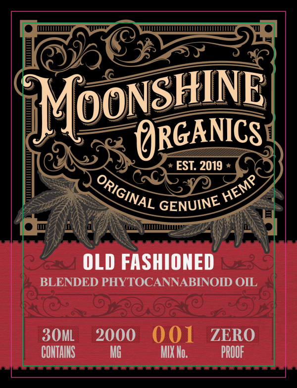 Moonshine Organics Craft Cocktail Collection Old Fashioned Label