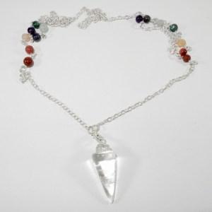 Clear Quartz Pendulum Necklace with Beads
