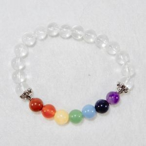 Chakra Stone Bracelet with Clear Quartz