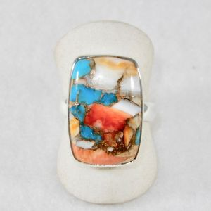 Copper Turquoise Spiny Oyster Rectangle Ring Size 8