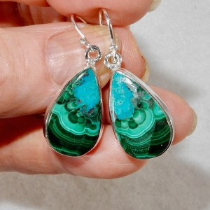 Azurite Malachite Tear Earrings