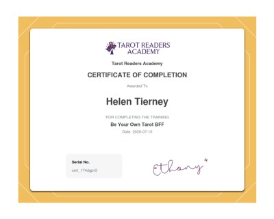 Be Your Own Tarot BFF Certificate - Helen Tierney
