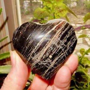 Black Obsidian Puffed Heart