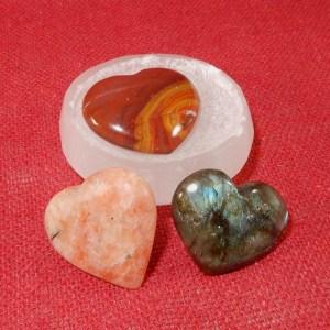 Selenite Bowl of Hearts