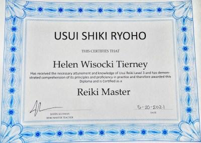 Helen Tierney - Reiki Master Certificate