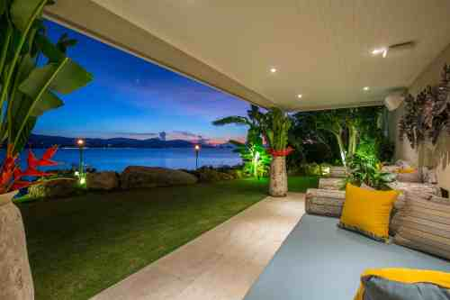 Lower garden area at Moonstone Villa, a luxury and private 6 bedroom beach front villa located in Plai Laem, Koh Samui, Thailand