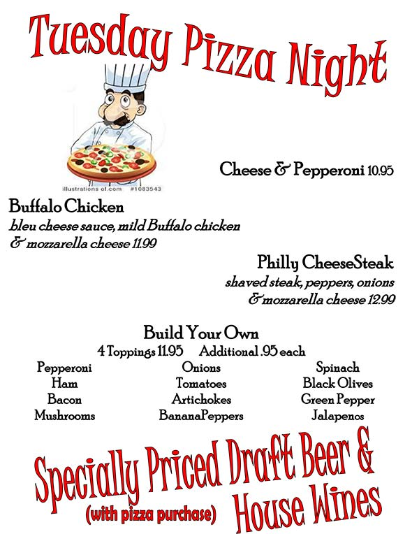 Tuesday July 16th 2019 Pizza Nite Specials