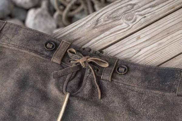 Sämisch gegerbte Wildbock Lederhose Detail6