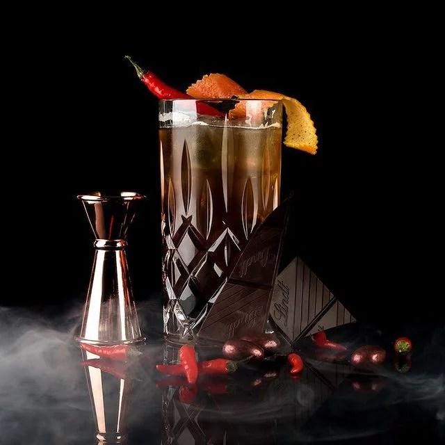 MOORDESTILLERIE Kolbermoor Barcatering Cocktail Chocolate Chili MOORGIN Tonic