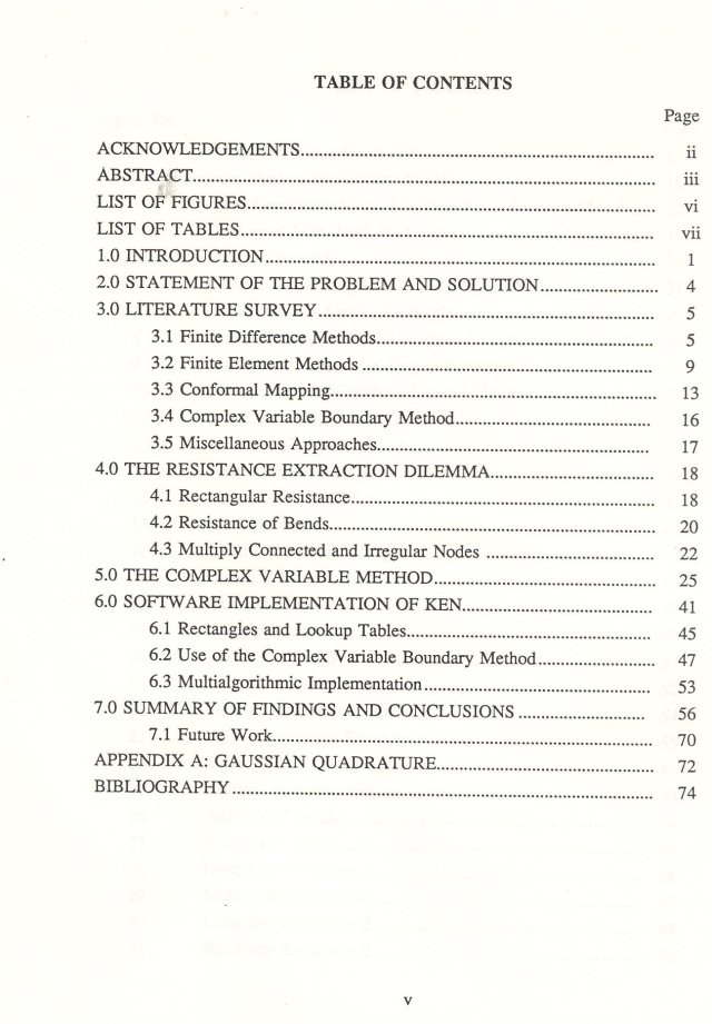 thesis table of contents or table of content