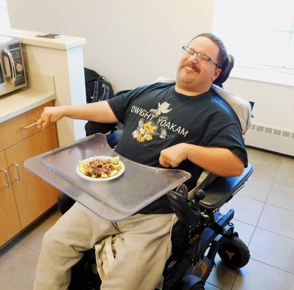 Matt gets to enjoy his apple nachos!