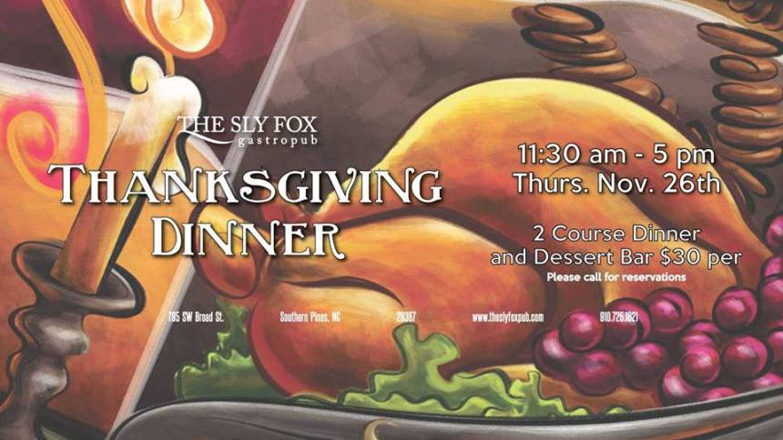 sly fox thanksgiving dinner