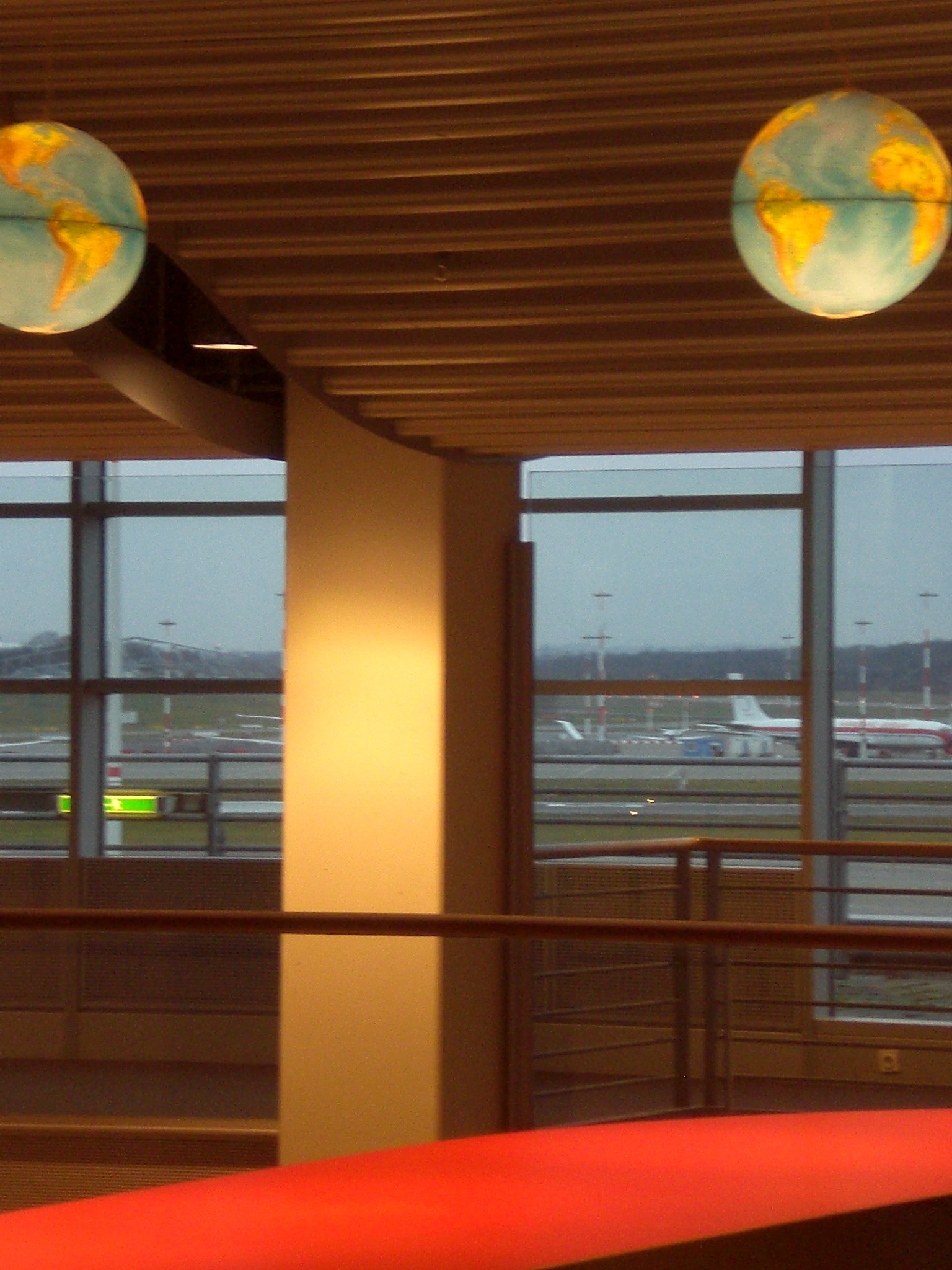 Earthshine...novelty lamps in the foreground as every plane except mine prepares for departure
