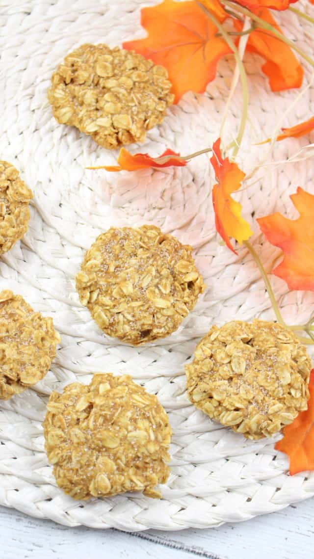 Easy No-Bake Pumpkin Cookies are a new favorite Fall Cookie. Make a batch of cookies in 15 minutes! #cookies #pumpkin #easy #nobake #recipes #food #baking #dessert