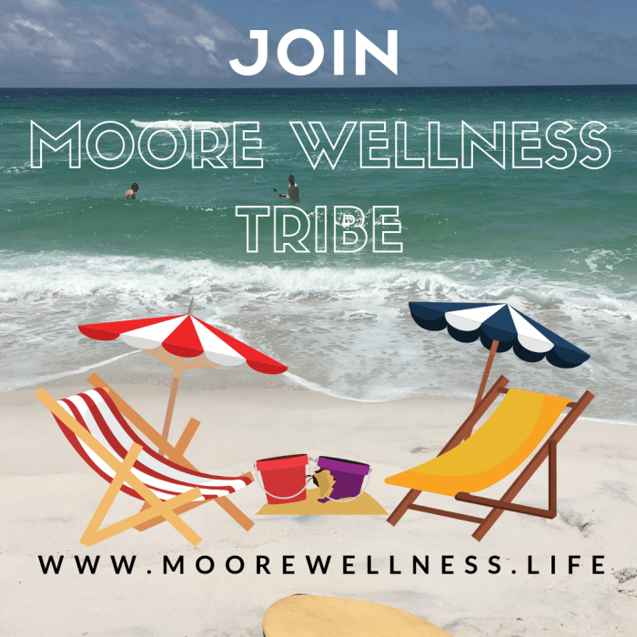 Join Moore Wellness Tribe with beach chairs